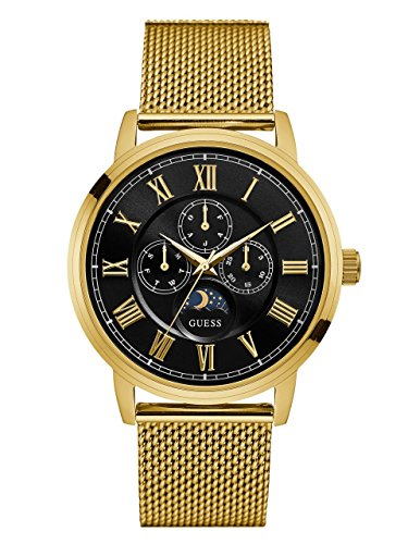 Guess Mens Stainless Steel Bracelet - GUESS Men's Stainless Steel Mesh Bracelet Watch, Color: Gold-Tone (Model: U0871G2)
