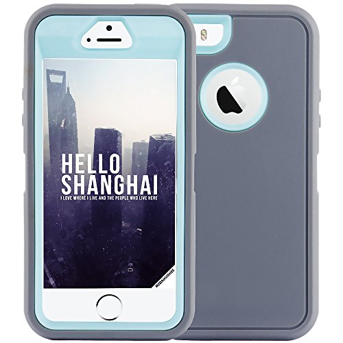 iPhone 5S Case,iPhone SE Case,Fogeek Heavy Duty PC and TPU Combo Protective Defender Body Armor Case for iPhone 5S,iPhone SE and iPhone 5 with Finger Print Function(Grey/Light Blue)