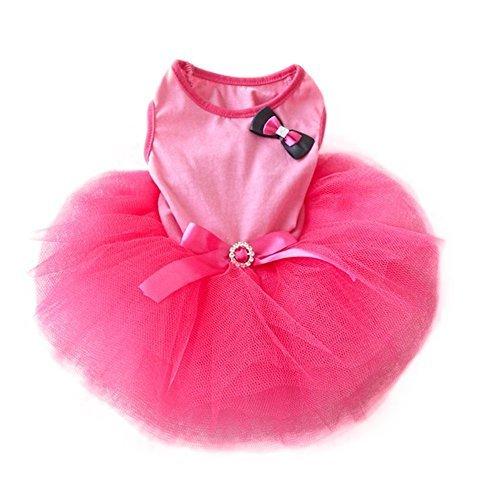 DiscoverMe8 Pet Cat Princess Tutu Dress Bow Bubble Skirt Puppy Clothes Dog Dress Apparel, Pink (S) (Cat Tutu)