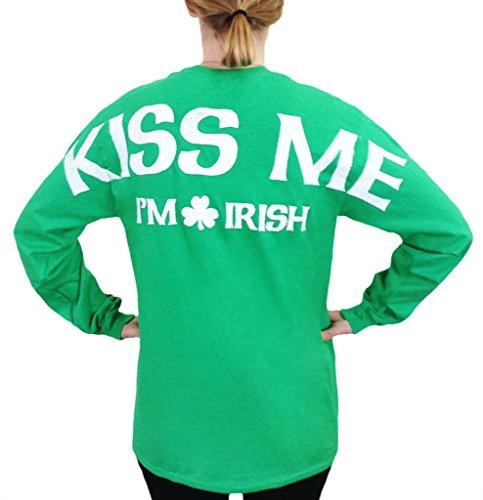 T-shirt Fighting Spirit (Kiss me, I'm Irish Stadium Jersey T Shirt Green Large)