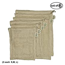 Simple Ecology Organic Cotton Mesh Produce Bag - Set of 6 (2 each of Lg., Med. & Sm.)