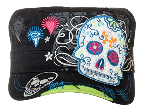 Artisan Owl Sugar Skull Military Style Black Cap with Buckle Closure (Black/Lime) Style Skull Cap