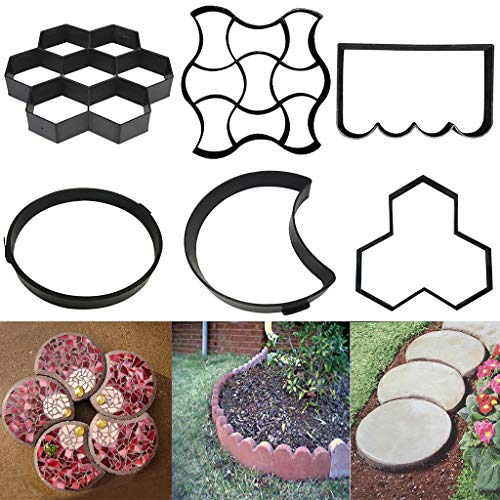Wffo New Paving Mold Driveway Patio Stepping Stone Pavement Paver Path Maker DIY (D)