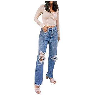 Vaqueros Rotos Mujer, Vaqueros Rectos Boyfriend Jeans ...