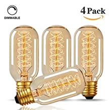 Edison Style Bulb, Ephvan 4 Pack T45 Vintage Decorative Light Bulb, E27 Base, Dimmable Filament Bulb For Home Light Fixtures, 110-130V 40W, Warm white (4-Pack)