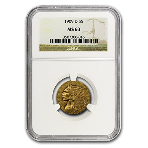 1908 – 1929 $5 Indian Gold Half Eagle MS-63 NGC G$5 MS-63 NGC