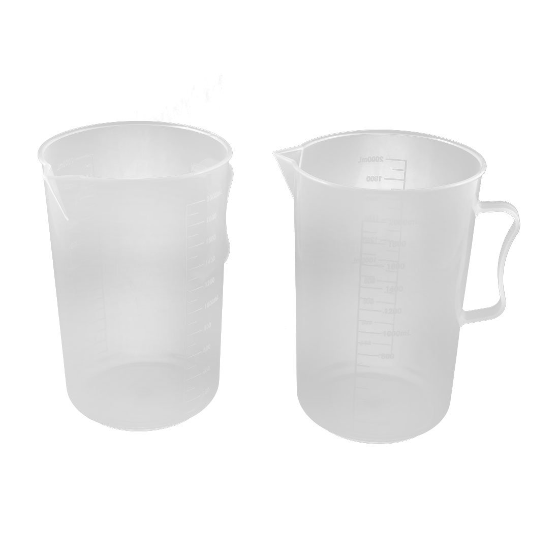 uxcell 2000mL Laboratory Kitchen Water Solution Graduated Measuring Cup 2pcs Clear a16031400ux1527