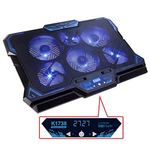 """KEYNICE Laptop Cooling Pad, Notebook Cooler with 6 Quiet Fan, Dual USB Port, 5 Wind Speed Adjustable, Blue LED Light, Fit 12""""-17"""" Computer, Portable Cooler Pad with LCD Screen, Gaming Laptop Cooler"""
