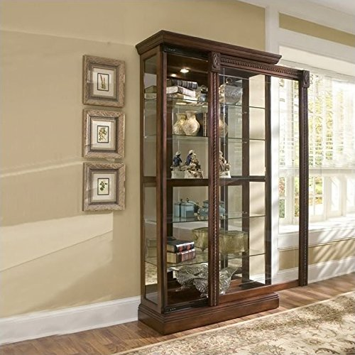 (Pulaski Two Way Sliding Door Curio, 43 by 17 by 80-Inch, Medallion Cherry Finish, Brown)