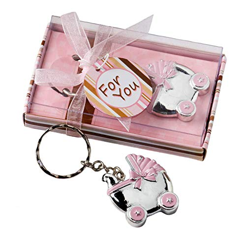 Baby Carriage Design Key Chains, Baby Shower Party Favors, Pink, Set of 40]()