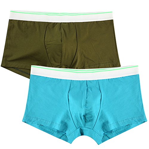 Low Waist Trunk (Men's Cotton Boxer Briefs Solid Color Design Underpants Full Cut Low Waist Trunks For Men)