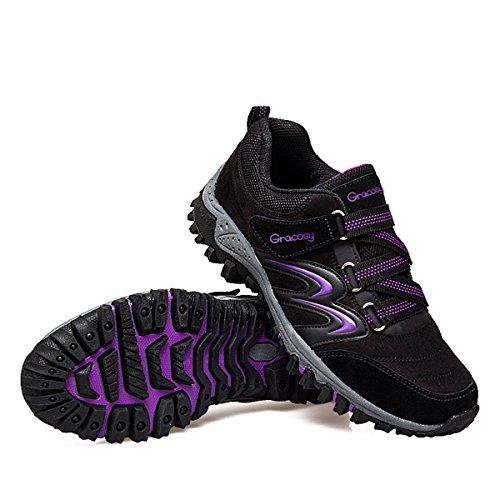 Montaña De Aire Al Trekking Gris Mujeres 42 Zapatillas Para 36 Senderismo Negro Correr Púrpura Zapatos Paseo Libre Escalada Gracosy pxn0aq5