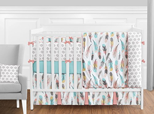 Sweet Jojo Designs 9-Piece Feather Baby Girls Crib Bedding Set with Bumper