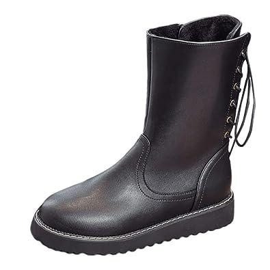 64348fe1c518be Winterschuhe Damen Zipper Stiefel Mitte Flache Leder Schuhe Martin Stiefel