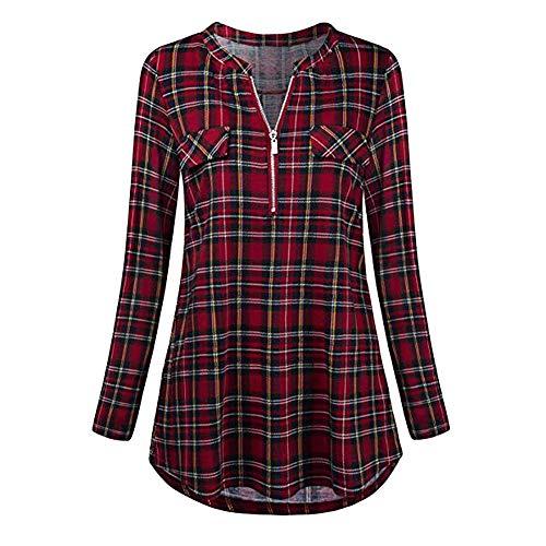 FORUU Ladies Button Zipper V Neck Long Sleve Casual Roll-up Print Tunic Tops Shirts ()