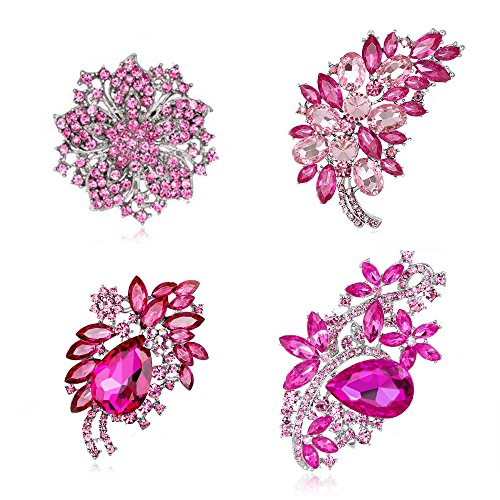 Ezing 4Pcs Pink Brooch Lot with Rhinestone Crystal Wedding Fashion Jewelry (Pink)