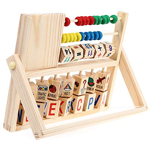 (Children's Multi-Function Clock Computing Rack - AmyDong Kids Boy Girl Baby Learning Early Educational Development Abacus Wooden Toys)