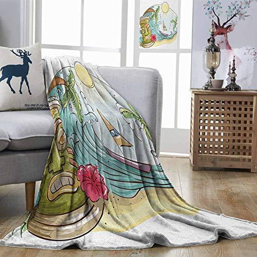 Zmstroy Fashion Throwing Blanket Tiki Bar Circular Frame with Tropical Accents Cartoon Beach Tiki Statue Illustration Print Multicolor Print Summer Quilt Comforter W60 xL91 (Bar Riverdale)