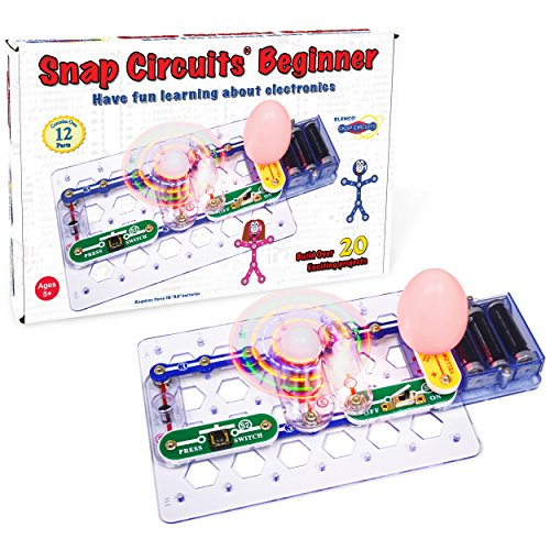 Snap Circuits Beginner Electronics Exploration Kit | Over 20 STEM Projects | 4-Color Project Manual | 12 Snap Modules | Unlimited -