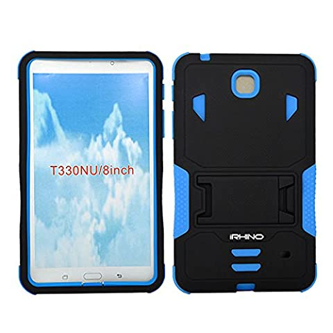 [iRhino] TM BLACK-blue Heavy Duty rugged impact Hybrid Case cover with Build In Kickstand Protective Case For Samsung galaxy Tab 4 8.0 inch T330 (Otter Box Galaxy Tablet 4)