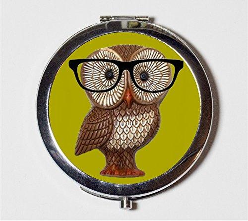 Owl Nerd Compact Mirror Hipster Anthropomorphic Animal Art Eyeglasses Make Up Pocket Mirror for Cosmetics by Fringe Pop