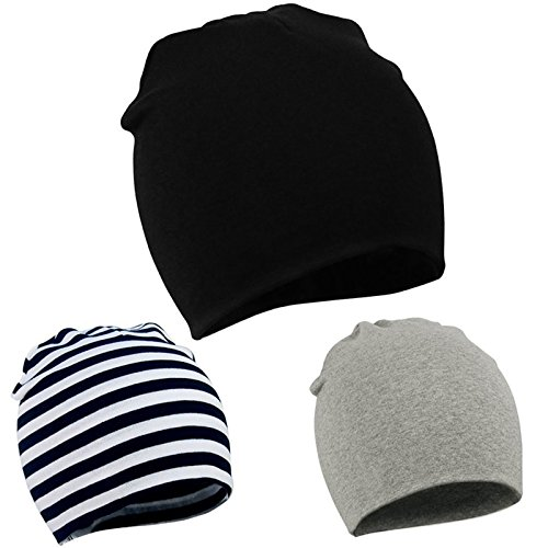 Zando Infant Toddler Baby Unisex Cotton Soft Cute Lovely Newborn Kids Hat Beanies Caps Baby Beanie for Boys Girls Infant Beanies for Boys A 3 Pack-Black Stripe Light Grey Large/1-4 Years