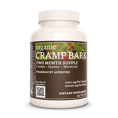 - Cramp Bark Remedys Nutrition Organic Vegan MEGA STRENGTH 1000 mg / 60,000 mg per bottle VCaps
