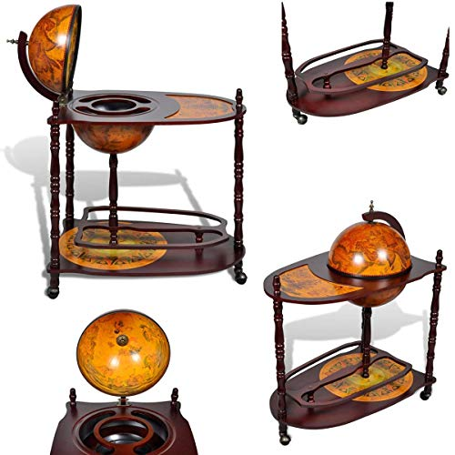 Cirocco 2 Tier Wine Stand Globe Bar Storage Cabinet Trolley Cart w/Wheel Extended Table | 39