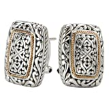 925 Silver Rectangular Heart Scroll Design Earrings with 18k Gold Accents