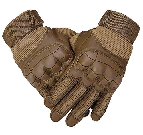 SHAWINGO Men's Full Finger Airsoft Protective Tactical Military Hard Knuckle Gloves Outdoor Motorcycle Motorbike Cycling Training Gloves(Brown, L)