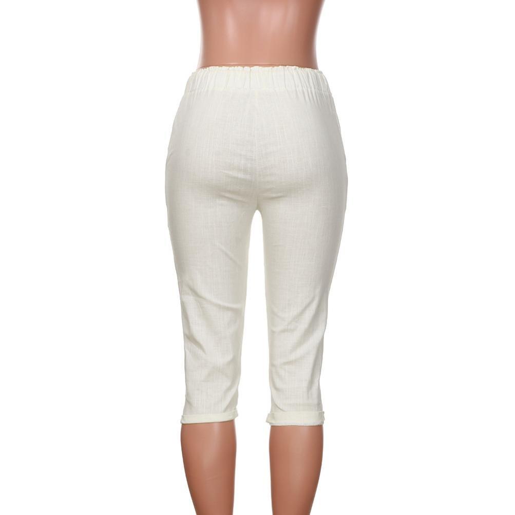 Neu Frauen Einfach Plus Größe Gummizug 3//4 Länge Capri Hose Hosen Shorts
