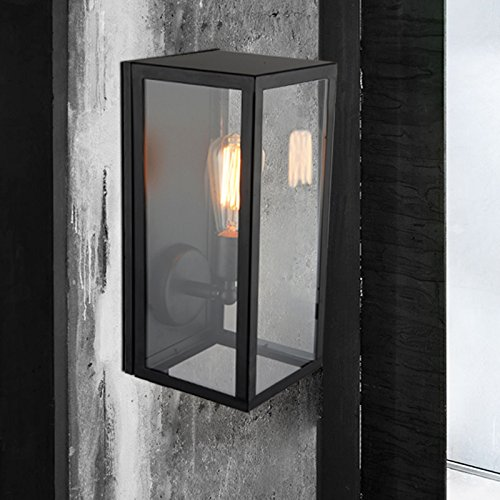 JiaYouJia Square Black Single-Light Outdoor Wall Lantern Raley Outdoor Lantern
