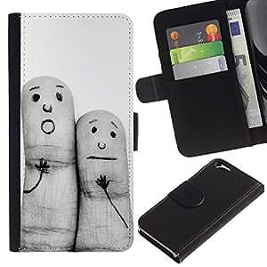 KLONGSHOP // Tirón de la caja Cartera de cuero con ranuras para tarjetas - Pinturas divertidas Finger - Apple Iphone 6 //