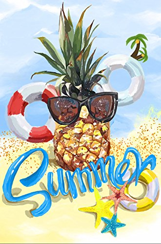 "Dtzzou Summer Garden Flag 12"" x 18"" - Pineapple Vertical Out"