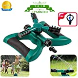Lawn Sprinkler Automatic Sprinklers For Garden 360 Rotating Adjustable Garden Water Sprinklers For Lawns Irrigation System Covering Large Area With 3 Arm Sprayers Coverage Leak Free Durable