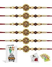Craftsman Rakhi for brother bhaiya bhabhi gift set of 6 piece rakhi for bhai bracelet thread with greeting card Roli and chawal with Ram Sita sticker Indian designer latest Rakhi Family Set