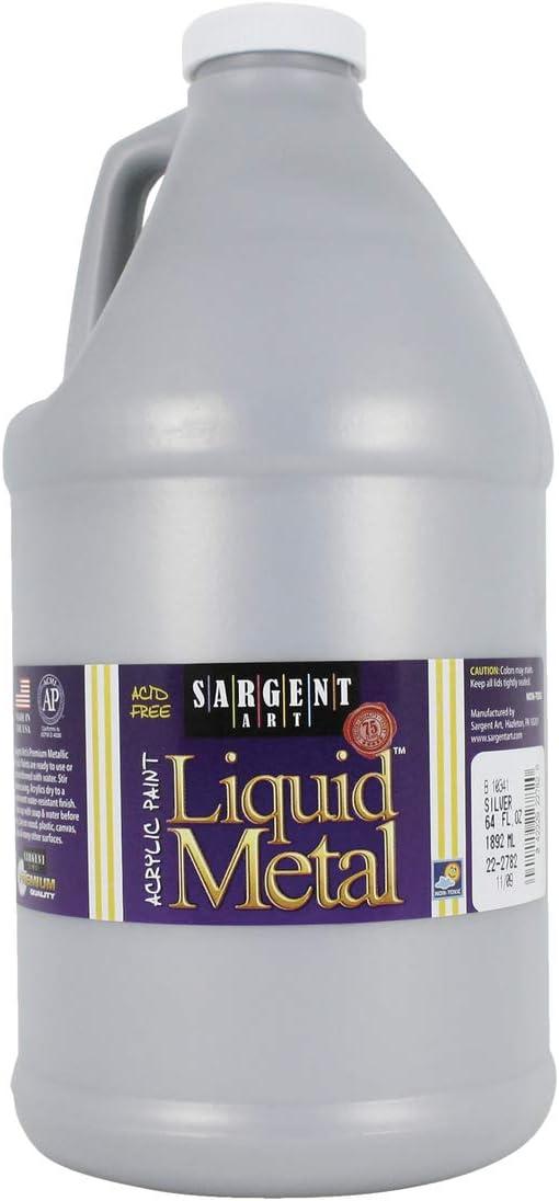 Sargent Art Half Gallon Liquid Metal Silver Acrylic Paint, (64-Ounce, 1/2 Gallon) 22-2782