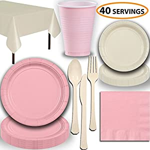 Disposable Party Supplies, Serves 40 - Light Pink and Cream - Large and Small Paper Plates, 12 oz Plastic Cups, heavyweight Cutlery, Napkins, and Tablecloths. Full Two-Tone Tableware Set
