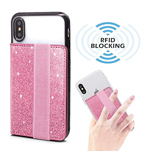 RFID Blocking Flip Card Holder for Back of Phone with Elastic Hand Strap, ClarksZone Sequins Glitter Wallet Case Stick On Slim Credit Card ID Card Slot Pockets for Most Smartphones ()