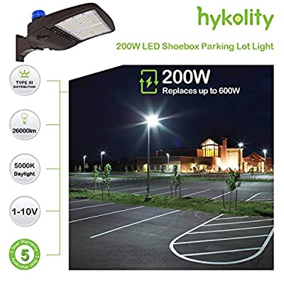 Hykolity 200W LED Parking Lot Lights, 26000lm Dusk to Dawn Commercial LED Area Lighting, Waterproof Pole Mounted Shoebox Light, 5000K [400w Equivalent] Arm Mount DLC Complied