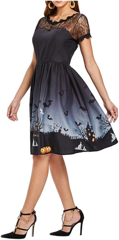 Meijunter Disfraces de Halloween para Mujer Plus Size A Line Vestido Estilo Vintage Manga Corta Malla Patchwork Calabaza Impreso Fiesta Vestido de oscilaci/ón