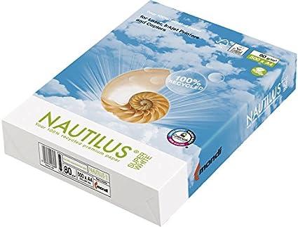 Nautilus 406-WEIS-80-510 - Pack de 500 hojas de papel 100% reciclado, A4, 80 gr: Amazon.es: Oficina y papelería