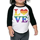 Gay Love Rainbow Heart Gay&Lesbian Pride Baseball Jersey Boys Girls Tee 3/4 Sleeve Raglan Toddler Tops