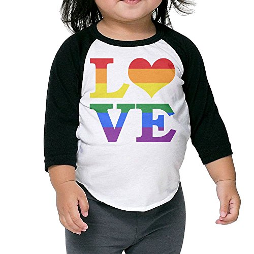 Gay Love Rainbow Heart Gay&Lesbian Pride Girls Baseball Tee Shirt Boy's 3/4 Sleeve Raglan Toddler Tops