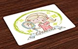 Ambesonne Zodiac Gemini Place Mats Set of 4, Cartoon Style Little Girl with a Mirror and Reflection Twins Concept for Kids, Washable Fabric Placemats for Dining Room Kitchen Table Decor, Multicolor