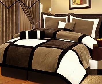 11 Piece Micro Suede Patchwork Comforter Set, Queen, Brown/off White/