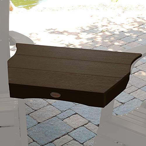 27 Inch Weathered Acorn Patio Side Table, Weather Resistant Outdoor Side Table Rectangular Shaped Eco-friendly Patio Coffee Table Adirondack Tete-a-tete Connecting Table Spectacular Design, Plastic ()