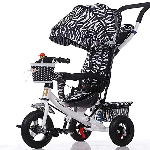 GHDE& 3-in-1 Childrens Tricycle Kids Trike for Children with Sun Canopy, Back Storage and Removable Parent (Best Joe's Usa Baby Strollers)