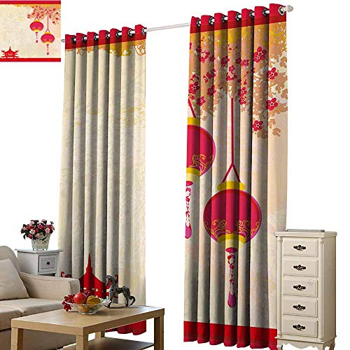 Warm Family Lantern Drapes for LivingRoom Japanese Inspired Celebration Image with Lovely Colors Old Paper Theme 70%-80% Light Shading, 2 Panels,W72 x L96 Hot Pink Light Yellow ()