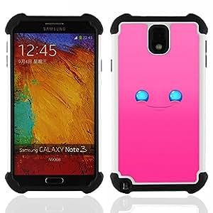 - Cute Happy Pink Face - - Doble capa caja de la armadura Defender FOR Samsung Galaxy Note3 N9000 N9008V N9009 RetroCandy